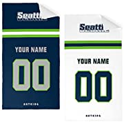 """Easy to order, click """"Customize Now"""" to select your size, and enter your name & number and you will make Beath Towel perfectly. laid out vertically; colors coordinated to team. Soft; lightweight; great for pool or beach Measures 32""""W x 52""""L Machine w..."""