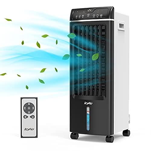 Condizionatore Portatile, raffreddatore d'aria con funzione purificazione, ventilatore di umidificazione 4 in 1 con telecomando, 550m/h, 65 watt, oscillazione, timer 1-7h, godeti la fresca estate