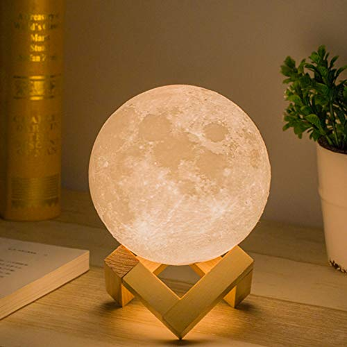 Mydethun Mondlampe 3d Druck Kinder Mond Lampe Nachtlicht,Dimmbar 2 Farbe USB Lade romantisches...