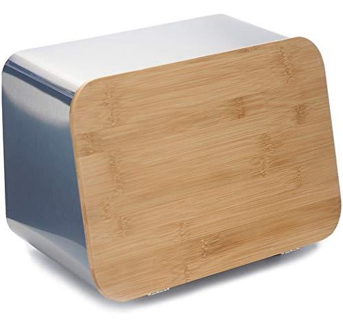 Brotkasten aus Edelstahl für die Küche, große Lebensmittelaufbewahrung, hohe Kapazität, Brotkasten mit Bambus-Schneidebrett, Deckel und Kühlregal. fein Extra Large silber