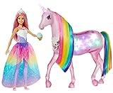 Barbie Dreamptopia Muñeca con pelo rosa y su unicornio luces mágicas (Mattel FXT26)