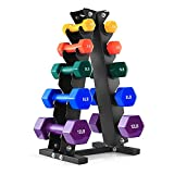 BRAVE HEART 2Lb 3Lb 5Lb 8Lb 12Lb Pair Vinyl Coated Hand Weights Dumbbells Set with Rack Stand, Hex Dumbellsweights Set for Women and Men, 5 Pairs Neoprene Dumbbells and Stand Included