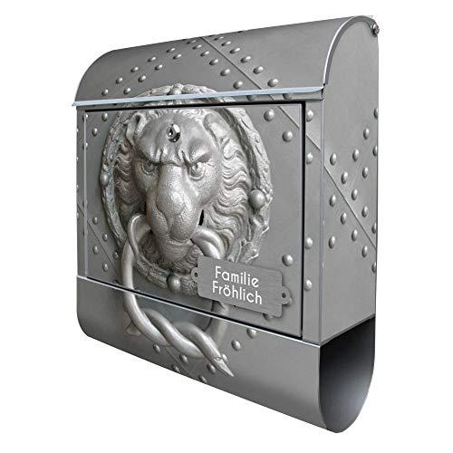 Banjado Design Briefkasten mit Motiv Eisentor | Stahl pulverbeschichtet mit Zeitungsrolle | Größe 38x47x14cm, 2 Schlüssel, A4 Einwurf, inkl. Montagematerial mit Beschriftung