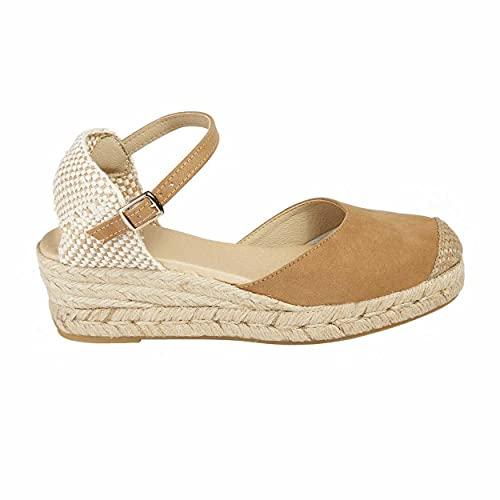 NO ES LO Mismo  Sandalias   Alpargatas De Yute con Cuña Mujer   Nueva Colección Primavera/Verano 2021   Zapatos con Plataforma para Mujer   Fabricado en España