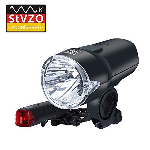 Degbit LED Fahrradlicht Set, StVZO Zugelassen Fahrradbeleuchtung IP44 Wasserdicht Fahrradlampe, Automatische Lichtsteuerung Fahrradlichter, 60 Lux 4 Umschaltbar Leuchtmodi Frontlicht & Rücklicht Set