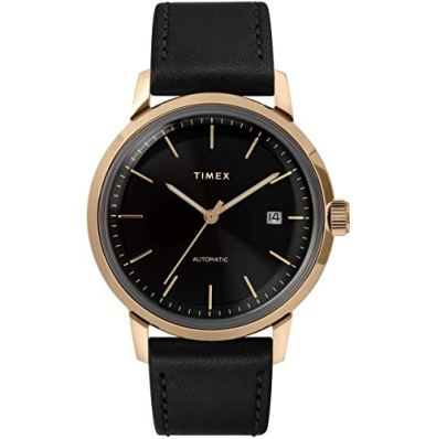 Timex Men's Marlin Automatic 40mm Watch – Black Dial & Gold-Tone Case with Black Genuine Leather Strap