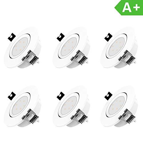 LED Einbaustrahler Dimmbar und Schwenkbar IP20 Ultra flach inkl. 6 x 5W GU10 Leuchtmittel austauschbar Farbe Weiss 230 Volt 420lm Warmweiss Einbauleuchten LED Spots