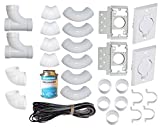 ZVac Universal Central Vacuum 2 Inlet Installation Kit Pre-Packaged with Wall Plates, Elbows, Brackets, Couplers, Sweep Ts, Pipe Straps Compatible with Central Vacuum Systems NuTone, Beam & More