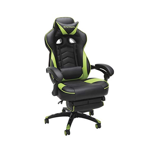 RESPAWN 110 Racing Style Gaming Chair, Reclining Ergonomic Chair with Footrest, in Green...