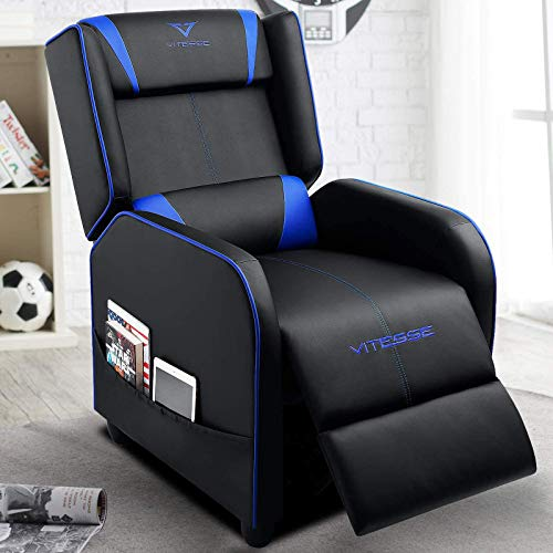 VIT Gaming Recliner Chair Racing Style Single PU Leather Sofa Modern Living Room Recliners Ergonomic Comfortable Home Theater Seating, Blue