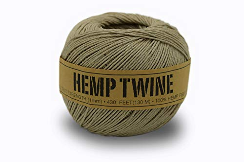 100% Hemp Twine Ball 1MM, 100G/430 Ft. - 20 lb. Test Strength - Natural