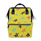 Bolsa de pañales para bebé de gran capacidad, estrellas multicolores, duradera, multifunción, mochila de viaje de gran capacidad para madres, niñas, enfermeras