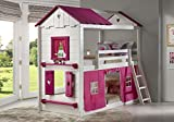 DONCO Twin Sweetheart Bunk Bed W/Pink Tent BUNKBED TWIN/TWIN White