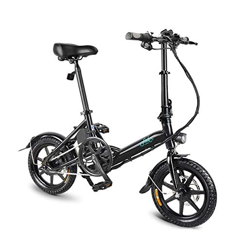 """FIIDO D3s Folding EBike, 250W Aluminum Electric Bicycle with Pedal for Adults and Teens, 16"""" Electric Bike 15Mph with 36V/7.8AH Lithium-Ion Battery, Professional Quick-Shift Shimano 6-Speed, Black"""