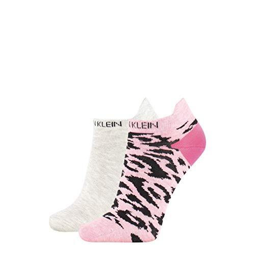 Calvin Klein Women Liner 2p Leopard Back Tab Calzini, Combo Rosa, Taglia Unica Donna