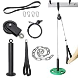 SYL Fitness LAT Pulldown Cable Pulley System Adjustable Length with Chain Solid Loading Pin for DIY Home Garage Gym (Black: for Olympic Plates)