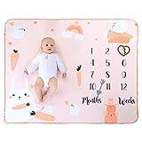 Mensuelle Couverture Douce Bebe Pour Mois Photographie Polaire Naissance Plaid Bebe Plaid Enfant Pour Fille & Garcon Legere Et Chaude Orange 120 * 100cm (Lapine)
