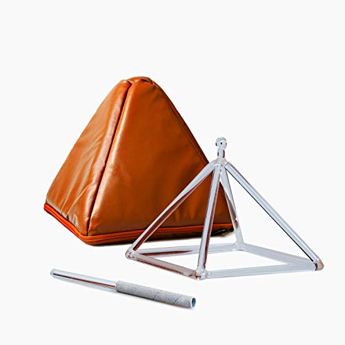TOPFUND® Pirámide de cristal de cuarzo tibetano 25,4 cm – Perfecto instrumento musical de curación mallet incluido – mejor y más alta calidad de sonido y material
