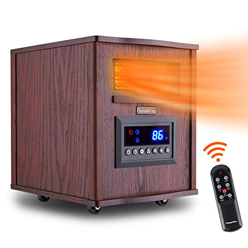 FLAMEMORE CH-3003 Portable Electric Space Remote Control 1500W 6-Element Infrared Heater 12H Timer with Tip-Over & Overheating Shut-Off Quiet for Indoor Use, 12.4in X 15.4in X15.7in, Wood