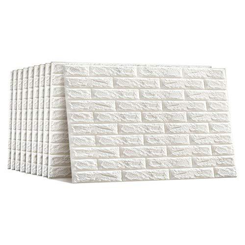Poxcap 3D White Brick Effekt Selbstklebende Verdickung Wasserdichte Tapete Muster Aufkleber DIY Moderne Wandverzierung für Kinderzimmer Wohnzimmer Schlafzimmer Küche Abnehmbare 12PCS