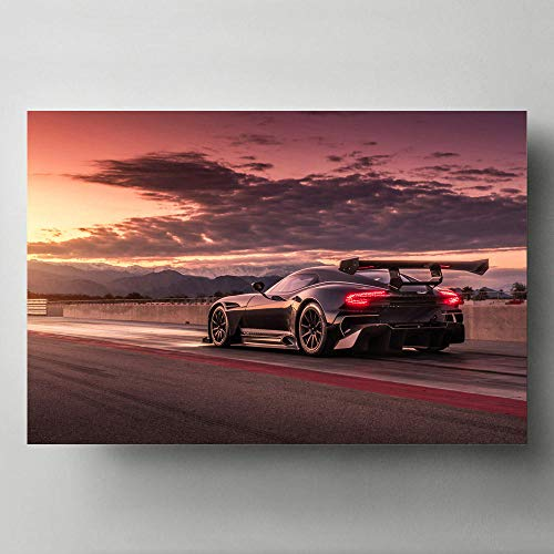 Canvas Paintings Astons Martin Vulcan Super Car Rear View Sunset Modern Wall Art Picture Posters HD Print for Living Room Decor -24x32 inch no Frame