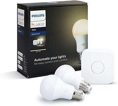 Philips Hue White E27 LED Lampe Starter Set, zwei Lampen inkl. Bridge, dimmbar, warmweißes Licht, steuerbar via App, kompatibel mit Amazon Alexa (Echo, Echo Dot)