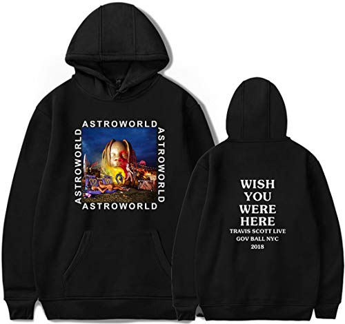 PANOZON Felpe Stampato Figura di Travis Scott Astroworld con Cappuccio per Uomo Casual Maniche Lunghe (XL, A nero2591-1)