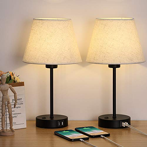 Table Lamp, Bedside Lamp Set of 2 with Dual USB Charging Ports, Modern...