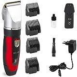 Afeitadora eléctrica profesional, tamaño / ajuste, cabello y barba, acero inoxidable y oro de 24 quilates, con 4 ...