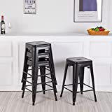 Sentiment A Set of 4 Backless Stackable Modern Metal bar stools Kitchen Counter stools 24 inches Tall can be Used Indoors or Outdoors.(Black)