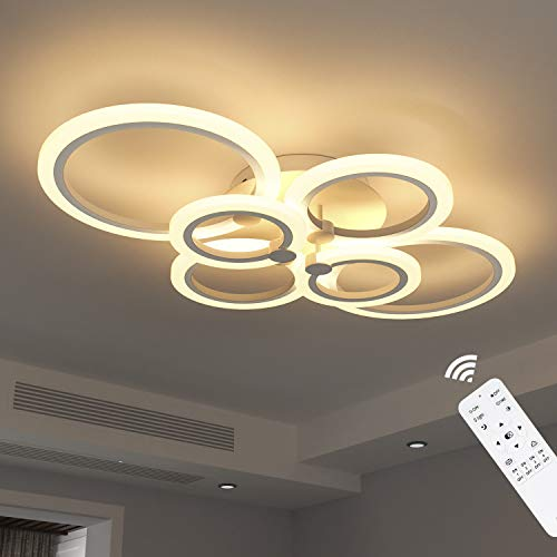 Anten Deckenleuchte LED dimmbar 40W | 6 Ringe moderne Deckenlampe mit Fernbedienung 2800LM für Wohnzimmer, Schlafzimmer, Esszimmer, aus Acryl