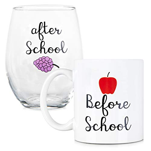 Before School, After School Coffee Mug and Stemless Wine...