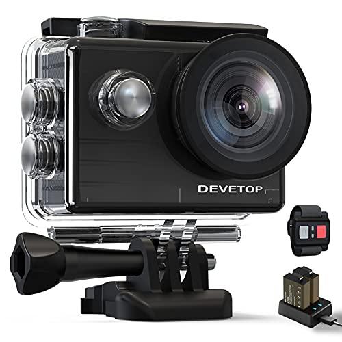 DEVETOP Action Cam 4K Fotocamera Subacquea 20MP Ultra HD Sport Camera 40M Impermeabile con Grandangolo 170 Microfono Esterno Telecomando Wireless 2.4G 2*Batterie da 1050 mAh e Accessori
