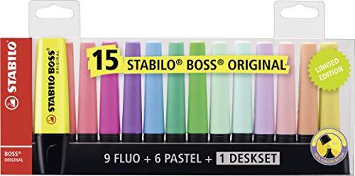 Marcador STABILO BOSS Original - Set de mesa con 9 colores fluorescentes y 6 colores pastel