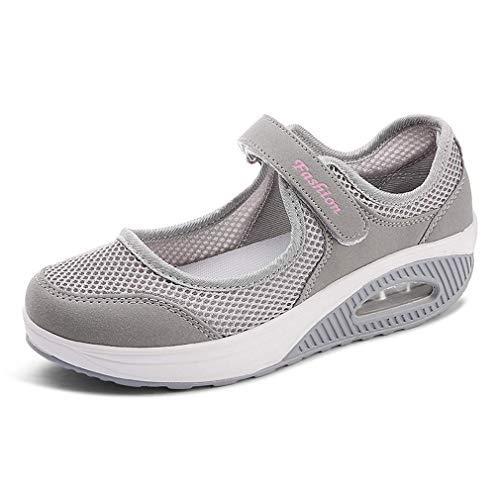 Sandalias para Mujer Malla Merceditas Plataforma Ligero Zapatillas Sneaker Mary Jane Casual Zapatos de Deporte Mocasines Negros Verano EU38 A-Gris-2