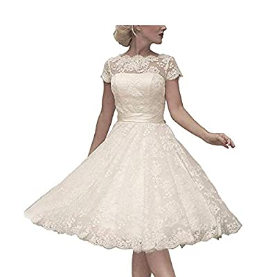 Imported Fabric: Lace, Tulle This sweet and modern cap sleeves short knee length wedding dress features lace neckline. Hand-made and gorgeous design makes the wedding dress appropriate for evening party, prom homecoming, formal party dress, bridesmai...