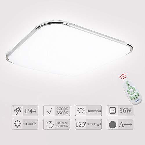 Hengda LED Deckenleuchte Dimmbar 36W Deckenlampe mit Fernbedienung Wohnzimmer Lampe für Schlafzimmer, Kinderzimmer, Küche, Büro, Flur, Bad, Innen IP44