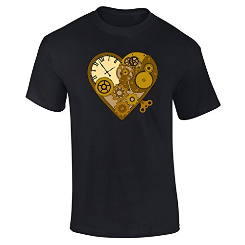 Flip Mens Steampunk Mechanical Clockwork Love Heart T-Shirt Black (S) (Apparel)