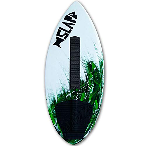 """Slapfish Skimboards - Fiberglass & Carbon - Riders up to 225 lbs - 48"""" with Traction Deck Grip - Kids & Adults - 4 Colors (Green + Arch Bar)"""