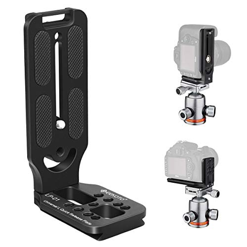 GEEKOTO L-Shaped Quick Release Plate Aluminum Bracket for DSLR and MLC Adapt Tripod Head with 1/4 Screw and ARCA Standard Head