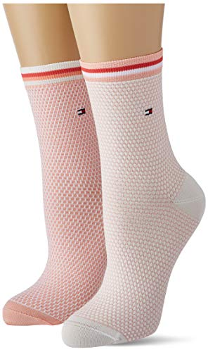 Tommy Hilfiger Collegiate Honeycomb Women's Short Socks (2 Pack) Calzini, Corallo, 39-42 Donna