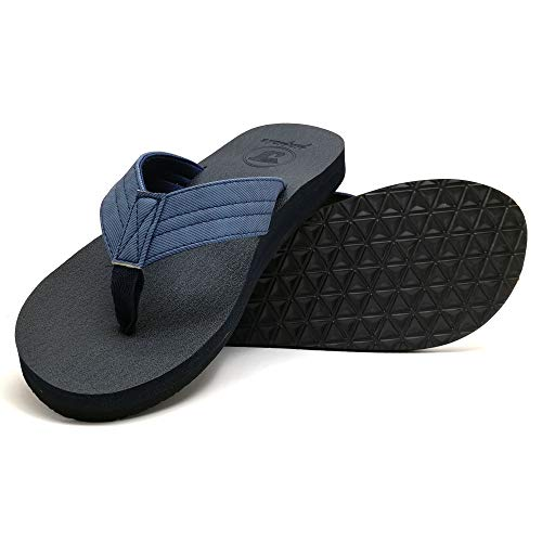 jiajiale Mens Yoga Foam Flip Flops Arch Support Slip on Thong Sandals Summer Beach Shoes Blue