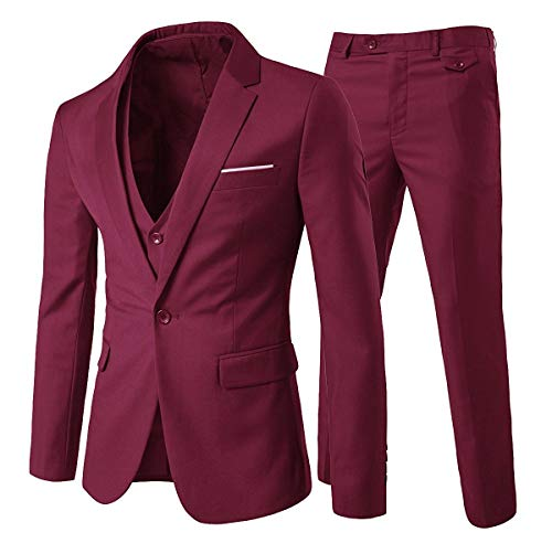 Cloud Style Traje ceñido para hombre, moderna chaqueta de un botón rojo intenso L