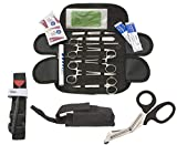 Tactical Black Emergency Survival First Aid Kit with Military Molle Compatible Pouch + Tourniquet One Handed - Ideal Gift for Hunting, Fishing, Firefighter, Police and EMT - STOP THE BLEED KIT