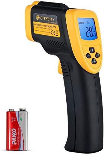 Etekcity Thermomètre Infrarouge sans Contact Laser de -50°C à 750°C, Large Plage de Mesure, Précision Haute, Arrêt Automatique, Ecran LCD Rétroéclairé, Impossible de mesurer la température corporelle
