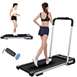 2 in 1 Folding Treadmill Multifunctional Under Desk Electric Treadmill, Installation-Free Portable Treadmill with Remote Control, Led Display and 12 Preset Training Plans,Great for Home Gym Office Use