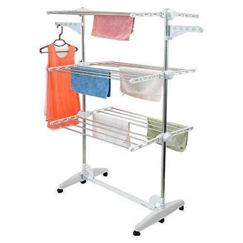 Todeco - Wäsche-Trockengestell, Wäscheständer - Material: Edelstahlrohre - Maximale Belastbarkeit: 3 kg pro Stützstange - 3 Ablagen, Weiß, mit Flügeln