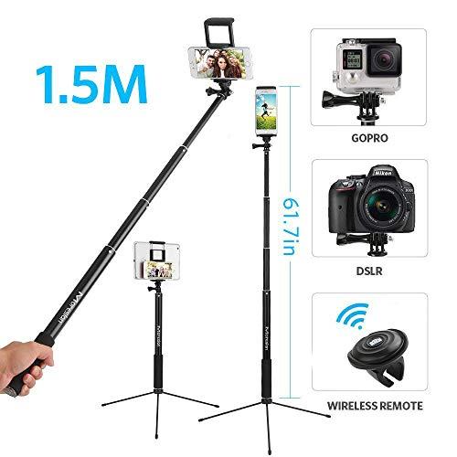 Perche Selfie,1.5M Selfie Stick Bluetooth Trépied Bluetooth Bâton de...