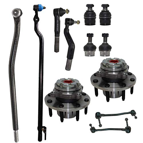 Detroit Axle - 12pc Front Wheel Hub and Bearings, Inner and Outer Tie Rods, Sway Bars & Ball Joints for 2000-2004 Ford F-250/ F-350 Super Duty 4WD