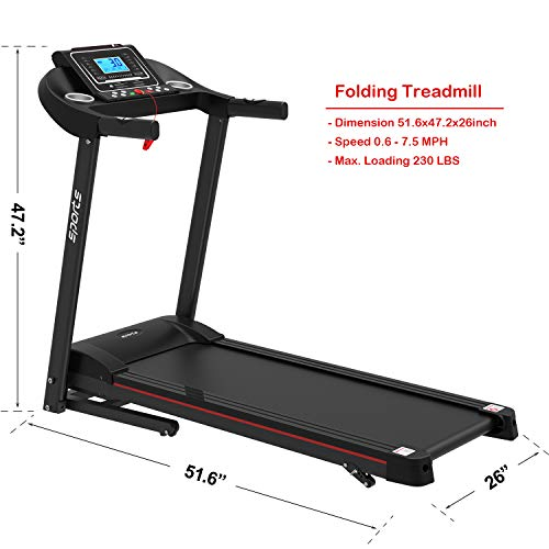 """HYLINCO Folding Electric Treadmills for Home, Foldable Compact Treadmill with Incline, 5"""" LCD Display and Tablet/Cup Holder, Portable & Quiet Running Machine 6"""